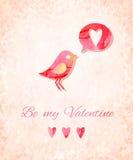 Valentine Watercolor Card avec l'oiseau Dirigez l'illustration, EPS10 Photos stock