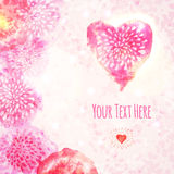 Valentine Watercolor Card avec le coeur Photo stock
