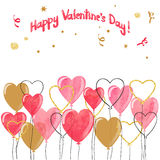 Valentine watercolor hearts balloons border. Vector romantic illustration stock illustration