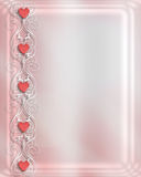 Valentine Wedding invitation. 3D Illustration for Wedding Invitation, Valentine border, Birthday Background with pink hearts, white trellis on satin. Copy space royalty free illustration