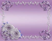 Valentine or Wedding Lavender Border. 3D Illustration for Wedding Invitation, Lavender Valentine or Anniversary Background, border with hearts, roses  and copy Stock Photography