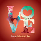 Valentine and wedding LOVE word with collage graphic. Illustration Stock Photography