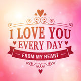 Valentine and wedding typography greeting card background stock illustration