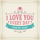 Valentine and wedding typography greeting card vintage curl background. Design Royalty Free Stock Photo
