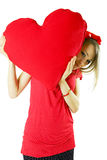 Valentine woman with heart Stock Photos
