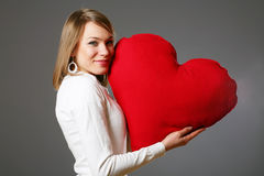Valentine woman with heart Stock Photo