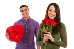 Valentine: Woman Holds Bouquet Of Dozen Roses Stock Image