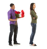 Valentine: Woman Ignoring Man With Romantic Gifts Stock Photo