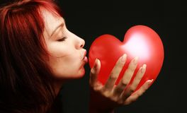 Valentine woman red heart Royalty Free Stock Photography