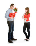 Valentine: Woman Thinking About Valentine's Gifts Stock Photography
