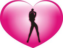 Valentine women. Pink glossy heart and black sexy women siluette for valentine day Royalty Free Stock Photos