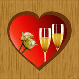 Valentine wooden heart champagne and roses Royalty Free Stock Image