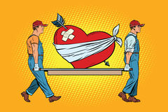 Valentine, wounded heart in love carry movers. Pop art retro vector illustration stock illustration