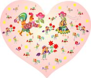 Valentine's card. Pink heart with cute cartoon rooster, hen and other birds and flowers. Stock Images