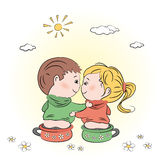 Valentine's day illustration with boy and girl Stock Photos