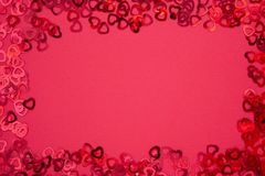Free Valentine&x27;s Day Abstract Red Background With Red Heart Shaped Glitter. Party Or Valentine&x27;s Day Flat Lay. Greeting Card Royalty Free Stock Photos - 164807498
