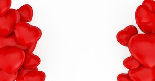 Valentine&x27;s Day Background With Red Hearts. 3D Rendering. Cute Love Banner Or Greeting Card. Place For Text Royalty Free Stock Photography