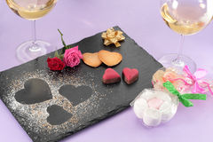 Valentinefterrätt arkivfoto
