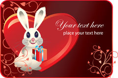 Valentinei card with rabbit Stock Photos
