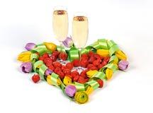 valentiner för champagneblommahjärta Royaltyfri Fotografi
