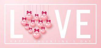 valentines дня знамени счастливые Красивая предпосылка с сердцами и смычками Vector иллюстрация для вебсайта, плакатов, электронн Стоковые Изображения