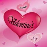valentines дня счастливые Любовь Сердце на розовой предпосылке вектор стоковое изображение