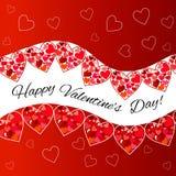 valentines дня карточки счастливые вектор предпосылка рогульки с сердцами Бесплатная Иллюстрация