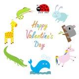 valentines дня счастливые бумага влюбленности grunge карточки предпосылки Милая животная рамка текст космоса экземпляра предпосыл бесплатная иллюстрация