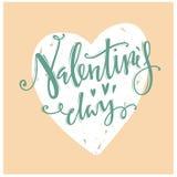 valentines дня счастливые каллиграфические письма Стоковое Изображение