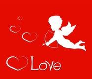 valentines дня счастливые Состав с влюбленностью, купидон литерности и бесплатная иллюстрация