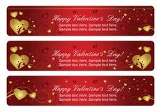 valentines сердца знамен горизонтальные 3 Стоковые Изображения