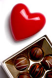 Valentines. Red Heart and Box of Chocolate Candy, Symbol of Love royalty free stock image