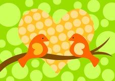 Птицы в карточке дня Valentines влюбленности Стоковое Фото