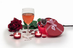 Valentines. Candy roses candles and wine for valentines Royalty Free Stock Photo