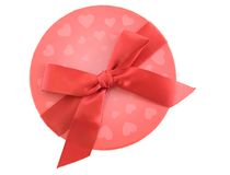 Valentines. Top view of a Valentines gift box with red bow isolated on white Stock Images