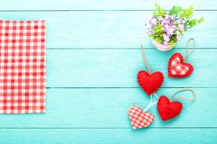 Valentines accessories on blue wooden table with tablecloth. Top view and mother day. Valentines accessories on blue wooden table with tablecloth. Top view and Royalty Free Stock Image