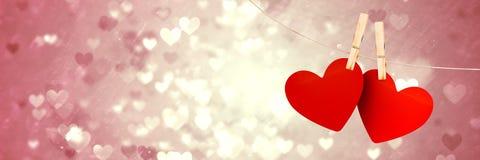 Valentines accrochant le fond de coeurs d'amour et de coeurs d'amour Photographie stock