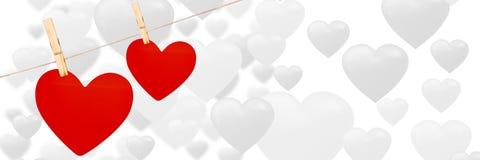 Valentines accrochant le fond de coeurs et de coeurs d'amour Image stock