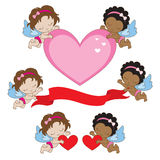 Valentines Angels. Vector illustration of two baby angels holding hearts and signs for Valentines day vector illustration