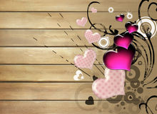 Valentines backgrond. Artistic background with hearts over wooden texture Stock Photography