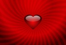 Valentines background. Red heart on the stripes background Stock Image