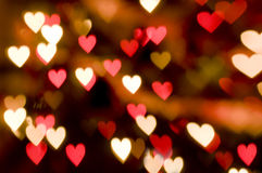 Valentines Background. With Red and White Heart Lights Royalty Free Stock Photos