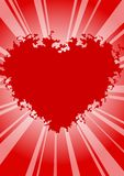 Valentines background. Red line  background on heart Stock Photography