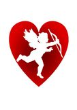 Valentines background. White   background on sweet heart and eros sign Royalty Free Stock Images