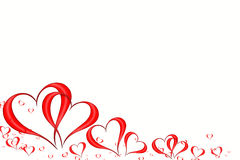 Valentines background. Many red hearts isolated on white background stock illustration