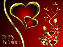 A valentines background. A  valentines background with a series of  gold hearts on a deep red backdrop and a large central heart with room for text Royalty Free Stock Photo