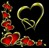 A valentines background. A  valentines background with a series of  gold hearts on a deep red backdrop and a large central heart with room for text Stock Images