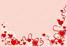 Valentines background. Vector Illustration of abstract valentines background with hearts and ribbons Stock Photography