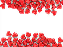 Valentines background. With red shiny hearts isolated on a white background royalty free illustration