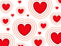 Valentines background. With red shiny hearts isolated on a white background stock illustration